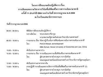โครงการฝึกอบรมเชิงปฏิบัติการ เรื่องการเขียนบทความวิชาการ/วิจัยเพื่อตีพิมพ์ในวารสารระดับนานาชาติ ครั้งที่ 11 ประจำปี 2564